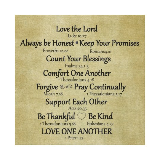 God First Family Second Quotes: Bible Verse Family Rules Canvas Print