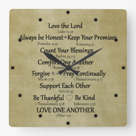 Bible Verse Family Rules Square Wall Clock
