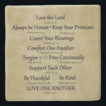 "Bible Verse Family Rules Stone Coaster<br><div class=""desc"">Bible Verse Family Rules Christian coasters with vintage brown parchment paper background and black typography. Love the Lord,  Always be Honest,  Keep your promises,  Count your blessings,  Comfort one another,  forgive,  pray continually,  support each other,  be thankful,  be kind,  love one another. See more at Christian Quotes. Link below:</div>"