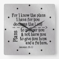Bible Verse: For I know the Plans I have for you Square Wallclock