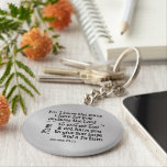 "Bible Verse: For I know the Plans I have for you Keychain<br><div class=""desc"">Bible Verse: For I know the Plans I have for you gifts. Inspirational scripture from Jeremiah 29.11, ... ..plans to prosper you and not harm you,  plans to give you hope and a future. Inspirational and motivational Christian quote scripture. Silver faux metallic background.</div>"