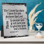 "Bible Verse: For I know the Plans I have for you Plaque<br><div class=""desc"">Bible Verse: For I know the Plans I have for you gifts. Inspirational scripture from Jeremiah 29.11, ... ..plans to prosper you and not harm you,  plans to give you hope and a future. Inspirational and motivational Christian quote scripture. Silver faux metallic background.</div>"