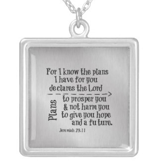 Bible Verse: For I know the Plans I have for you Square Pendant Necklace