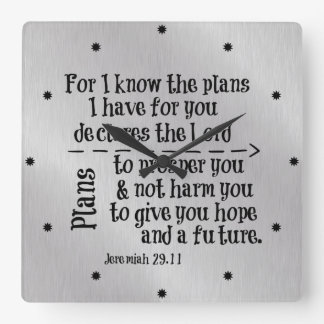 Bible Verse: For I know the Plans I have for you Square Wall Clock