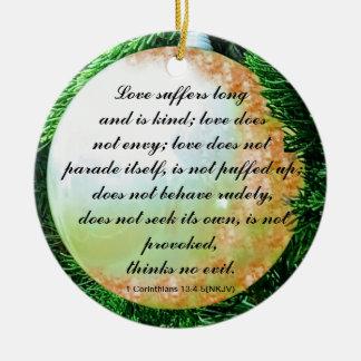 Bible verse for Love in General Ceramic Ornament