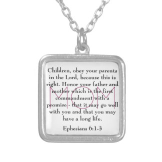 bible verse for Mom Ephesians 6:1-3 necklace