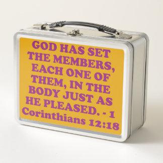 Bible verse from 1 Corinthians 12:18. Metal Lunch Box