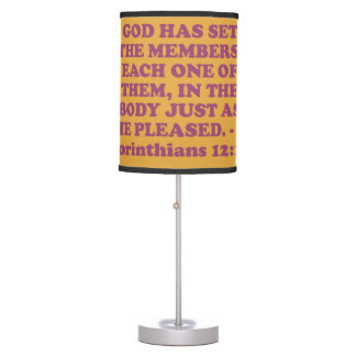 Bible verse from 1 Corinthians 12:18. Table Lamp