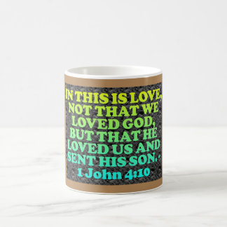 Bible verse from 1 John 4:10. Coffee Mug