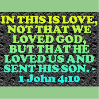 Bible verse from 1 John 4:10. Statuette