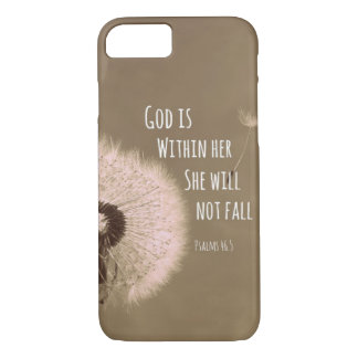 Bible Verse: God is within her, she will not fall iPhone 8/7 Case