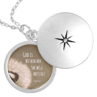 Bible Verse: God is within her, she will not fall Round Locket Necklace