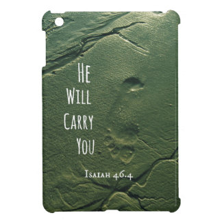 Bible Verse: He will Carry You with Footprints iPad Mini Cover
