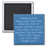 Bible verse Hebrews 13:5 magnet