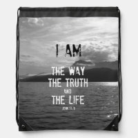 Bible Verse: I am the Way, Truth, Life Drawstring Bag