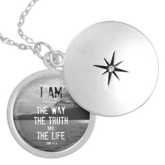 Bible Verse: I am the Way, Truth, Life Round Locket Necklace