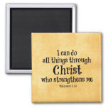 Bible Verse: I can do all things through Christ 2 Inch Square Magnet