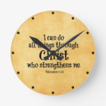 Bible Verse: I can do all things through Christ Round Clocks