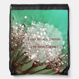 Bible Verse: I can do all things through Christ Drawstring Bags