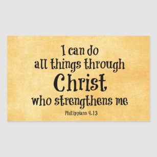 Bible Verse I Can Do All Things Through Christ Rectangular Sticker