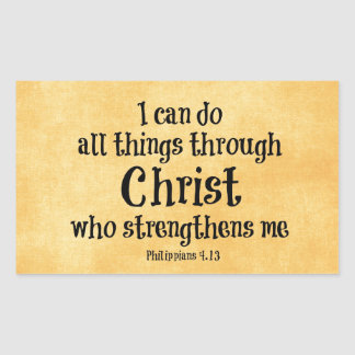 Bible Verse: I can do all things through Christ Rectangular Sticker