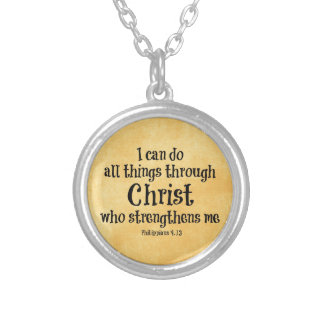 Bible Verse: I can do all things through Christ Silver Plated Necklace