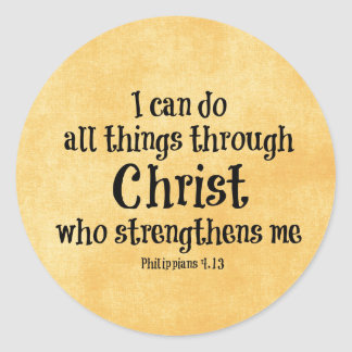 Bible Verse: I can do all things through Christ Classic Round Sticker