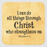 Bible Verse: I can do all things through Christ Square Stickers