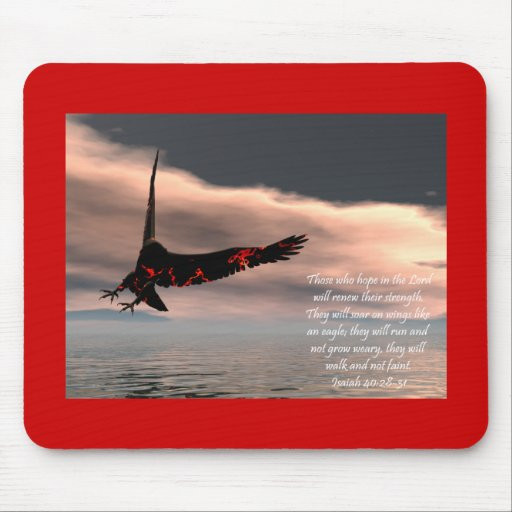 Bible Verse Isaiah 40: 28-31 with Eagle Mouse Pads