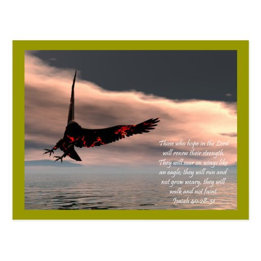 Bible Verse Isaiah 40: 28-31 with Eagle Postcard