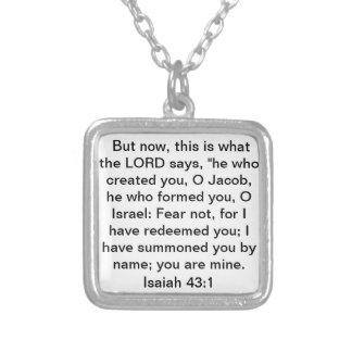 bible verse Isaiah 43:1 Square Pendant Necklace