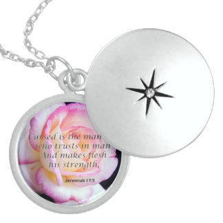 Bible Verse Jeremiah 17-5 Flower Jewelry necklace