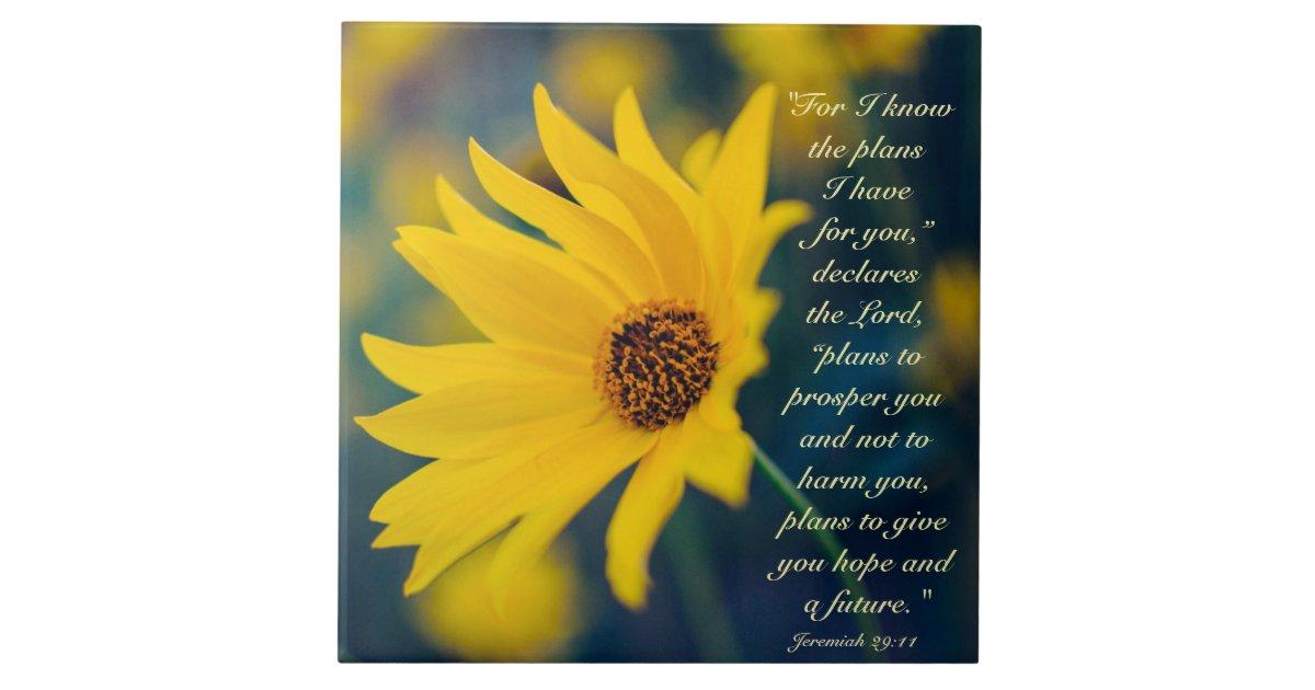 Bible Verse Jeremiah 29 11 Yellow Wildflower Ceramic Tile