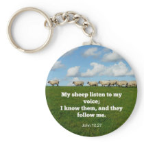 Bible verse, John 10:27,My sheep listen... Keychain