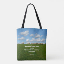 Bible verse, John 10:27, My sheep... Tote Bag