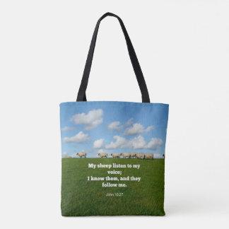 Bible verse, John 10:27, My sheep... Tote Bag
