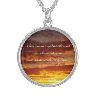 Bible Verse John 12 46 Over a Sky Jewelry Necklac