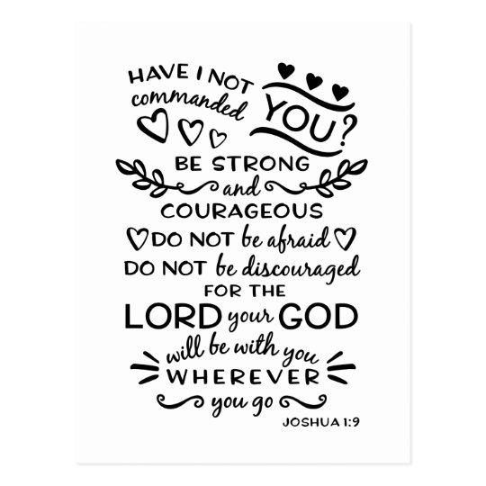 bible verse joshua 1 9 postcard zazzle com