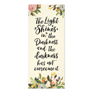 Bible Verse Light in the Darkness Floral Flat Card