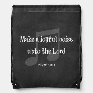 Bible Verse: Make a Joyful Noise Drawstring Bag
