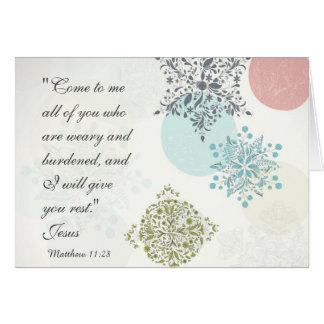Bible Verse Matthew 11:28 Beautiful Vintage Custom Card