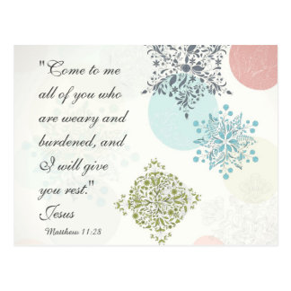 Bible Verse Matthew 11:28 Vintage Design Postcard