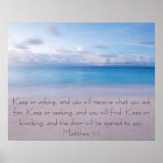 Bible verse Matthew 7 7 Beach Poster