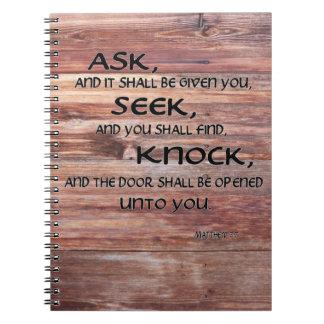 Bible Verse Matthew 7:7 Wood Background Notebook