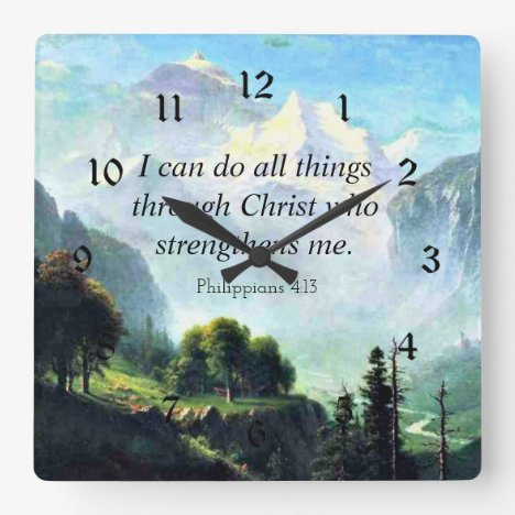 Bible verse, Phil 4:13, I can do all things... Square Wall Clock