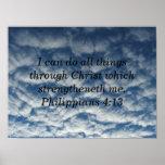Bible verse philippians 413 poster, cloud poster