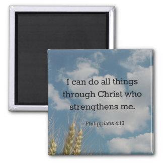 Bible Verse, Philippians 4:13 2 Inch Square Magnet