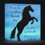 """Bible verse Philippians 4:13 Horse 3 Ring Binder<br><div class=""""desc"""">Black silhouette image on sky background inspired with bible verse Philippians 4:13 &quot;I can do everything through him who gives me strength.&quot;</div>"""