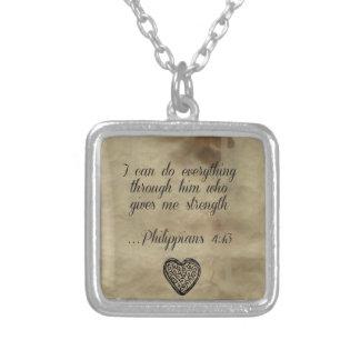Bible Verse Philippians 4:13 Square Pendant Necklace