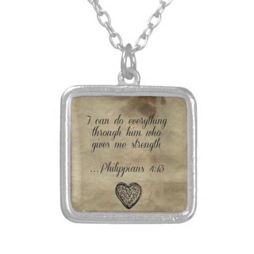 Bible Verse Philippians 4:13 Necklaces